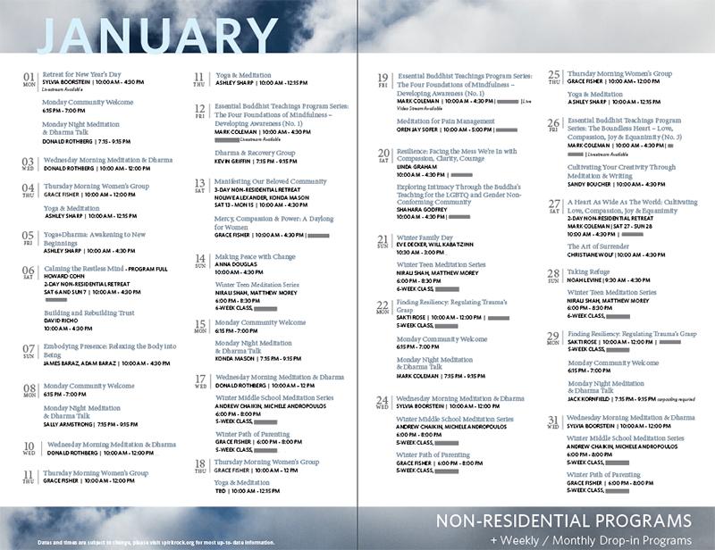 programs non res monthly calendar spirit rock an insight